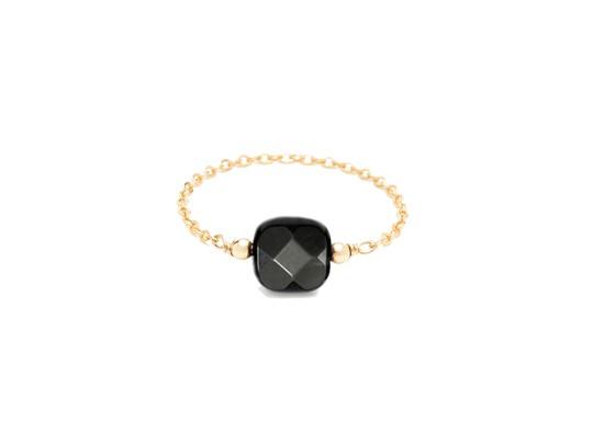 Bague chaînette Riviera carrée - Agate noire