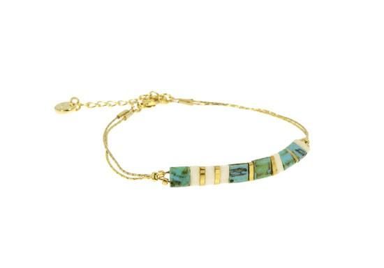 Bracelet Miyuki chaîne - turquoise