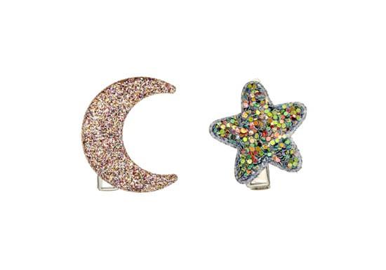 Barrettes Lune et étoile Midnight glitter