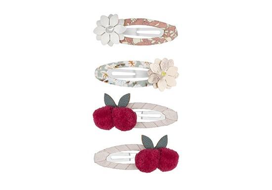 Barrettes fleurs et cerises (lot de 4)