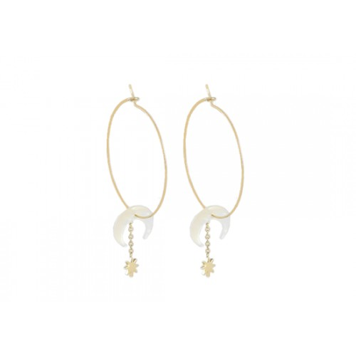 Boucles d'oreilles Moon and star