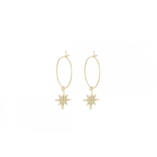 Boucles d'oreilles Mini Créoles Star doré