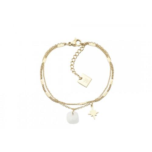 Bracelet double chaîne Star - agate blanche