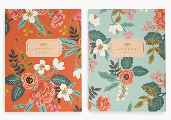 Set de 2 cahiers fleurs dorées