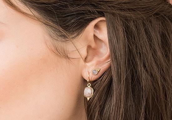 Boucles d'oreilles Lina (pierre au choix)