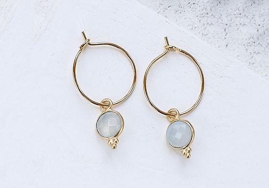 Boucles d'oreilles Anis Hoop (pierre au choix)