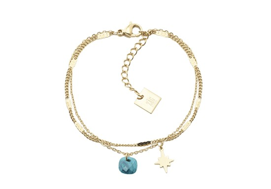 Bracelet double chaîne Star - apatite