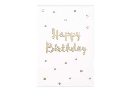 Carte Happy Birthday - Pois or