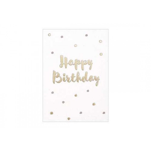 Carte Happy Birthday - Pois or