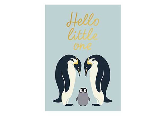 Carte Hello Little One - Pingouins