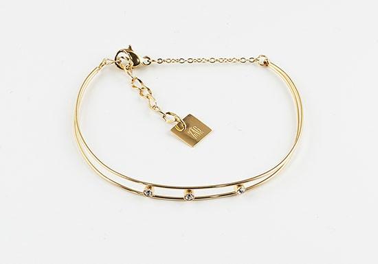 Bracelet jonc fin Amélie - agate blanche