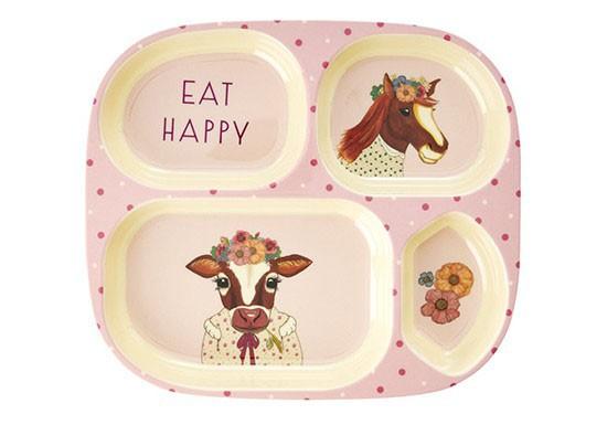 Assiette à compartiments - Les animaux de la ferme, Rose