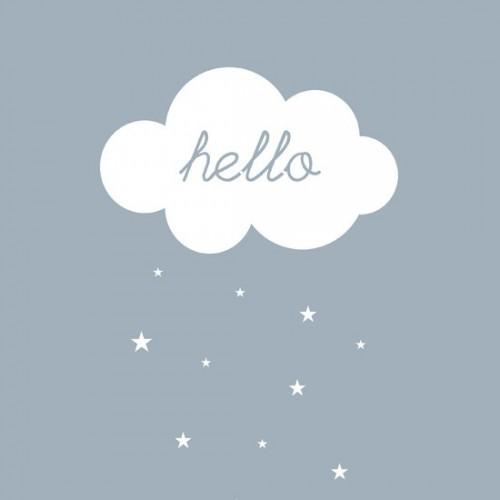 Carte postale Hello nuage - gris