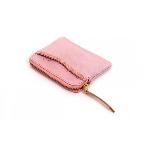 Porte monnaie zip pailleté - rose