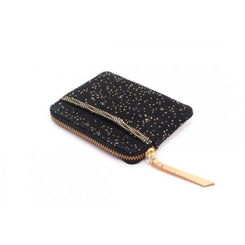 Porte monnaie zip pailleté - noir