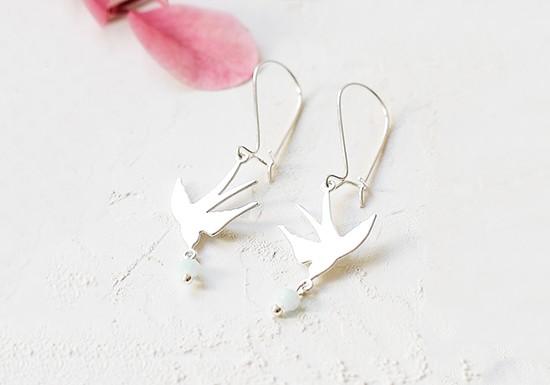 Boucles d'oreilles hirondelles argenté