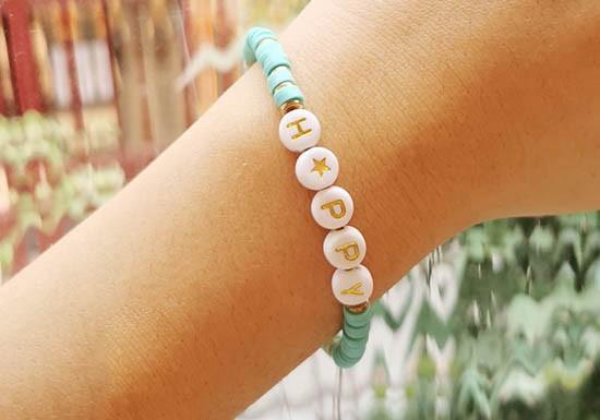 Bracelet Mantra - Happy (coloris au choix)