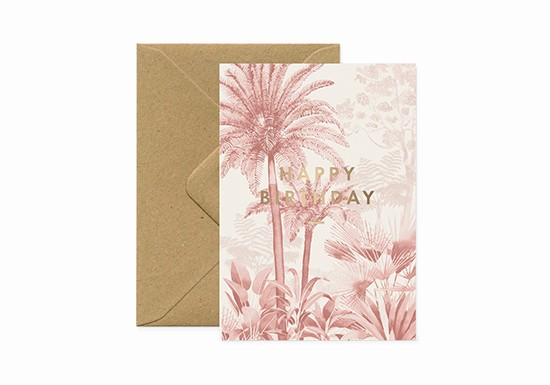 Carte postale Happy Birthday Pink Forest