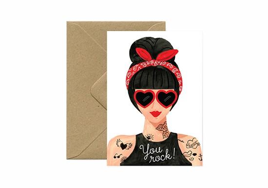 Carte postale Hipster Girl