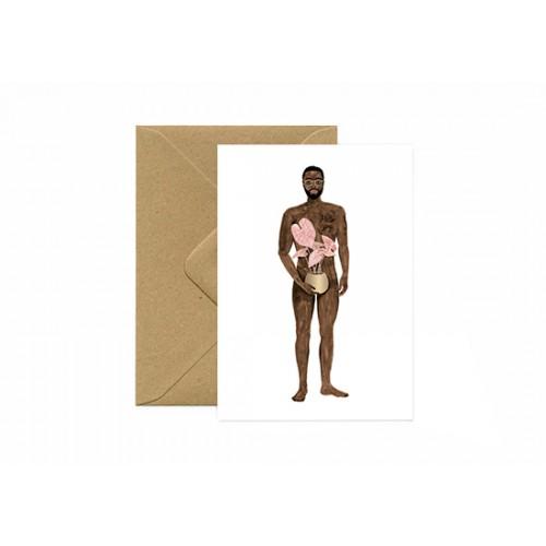 Carte postale Naked boy with a plant