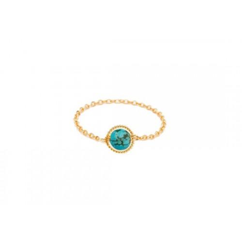 Bague chaînette Swan turquoise