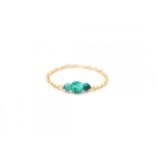 Bague chaînette Chance turquoise