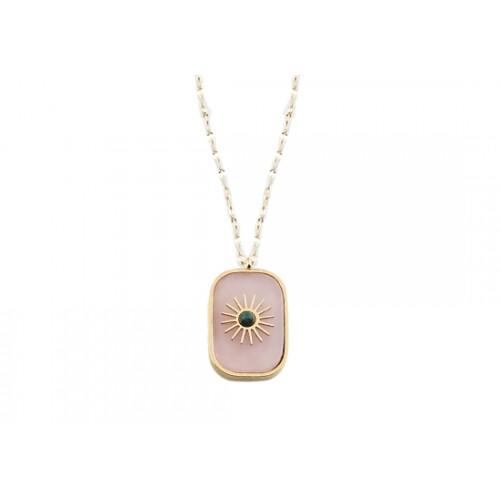 Collier long Shamsun - quartz rose