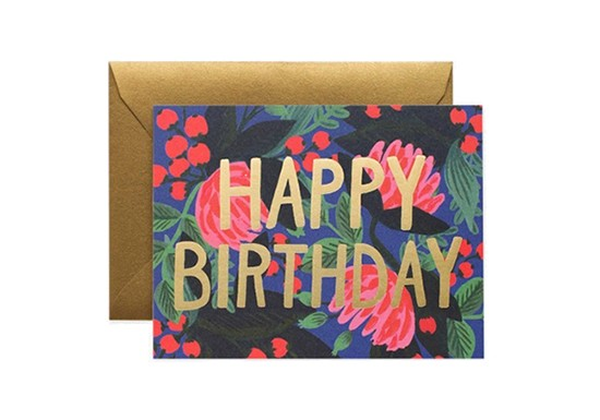 Carte postale Floral Foil Birthday