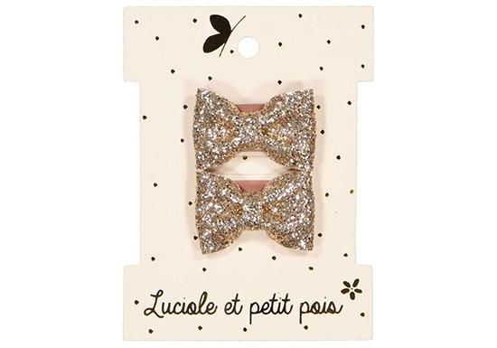 Lot 2 barrettes mini papillon - Glitter or