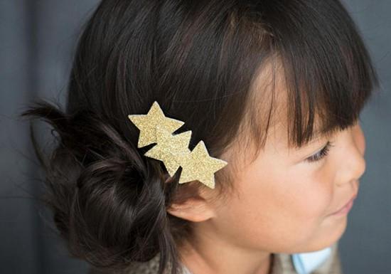 Barrette 3 étoiles - glitter doré