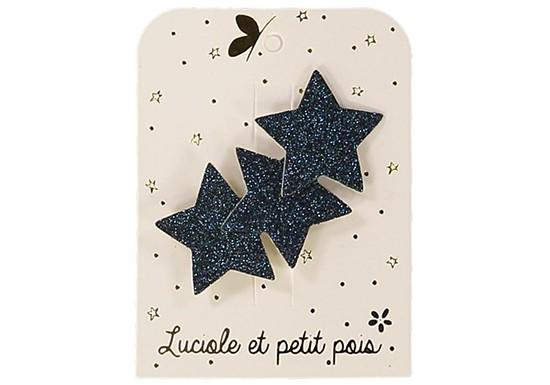 Barrette 3 étoiles - glitter bleu