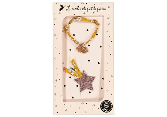 Coffret Bracelet et Barrette - Capel moutarde & Étoile filante bronze