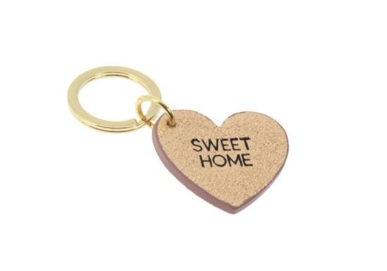 Porte-clés SWEET HOME - rose pailleté
