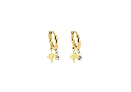 Boucles d'oreilles créoles pampille étoile du nord