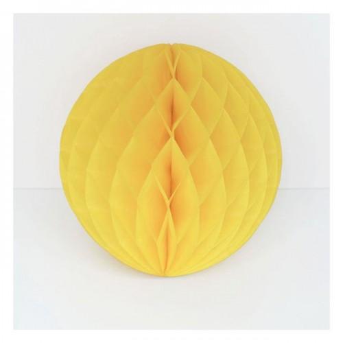 Boule en papier alvéolé 15 cm jaune