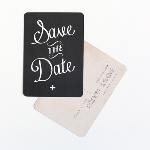 Carte postale Save the date - ardoise