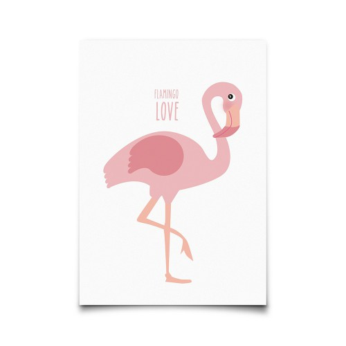 Carte postale Flamingo Love