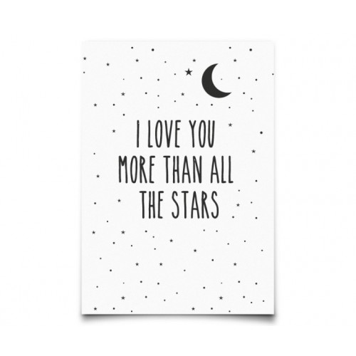 Carte Postale love you more than all stars